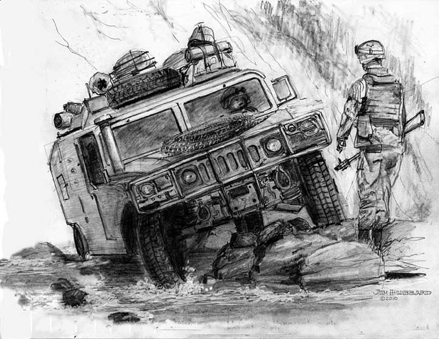 Humvee Afghanistan Drawing By Jim Hubbard