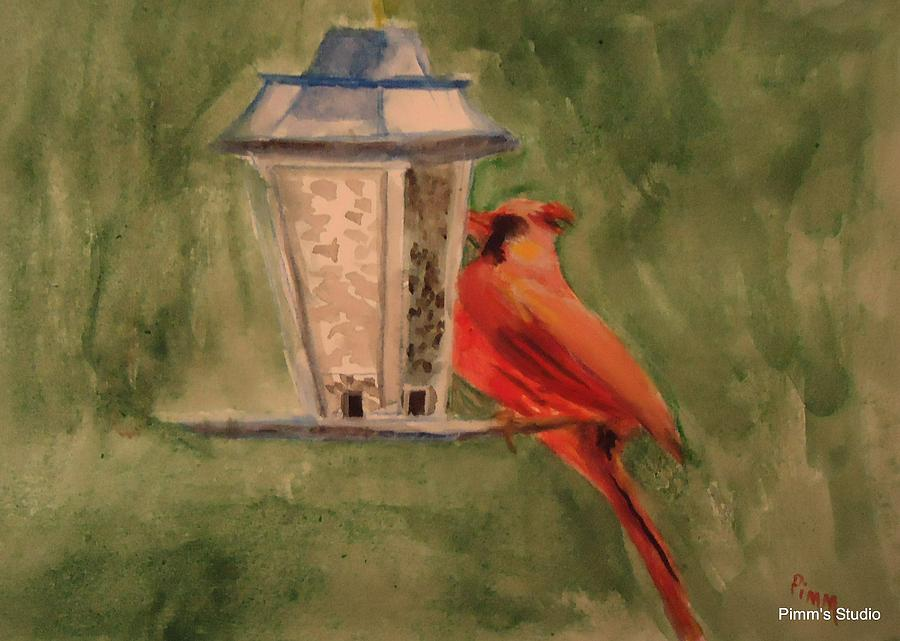 Birdfeeder Painting - Hungry Red by Betty Pimm