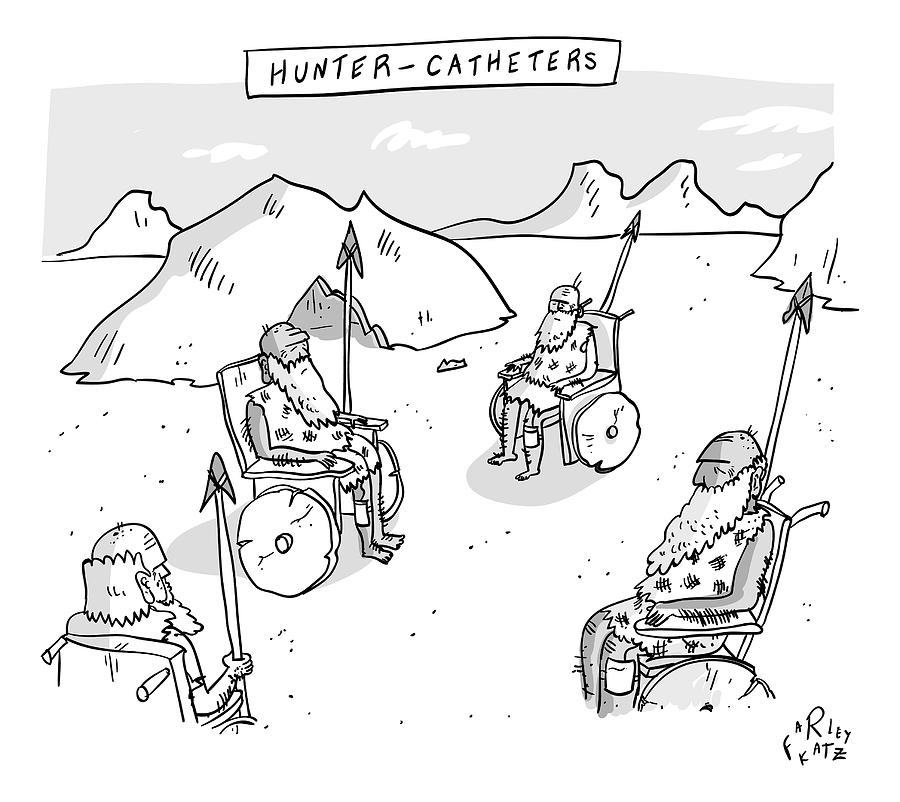 Hunter-catheters -- Stone-age Warriors Sit Drawing by Farley Katz