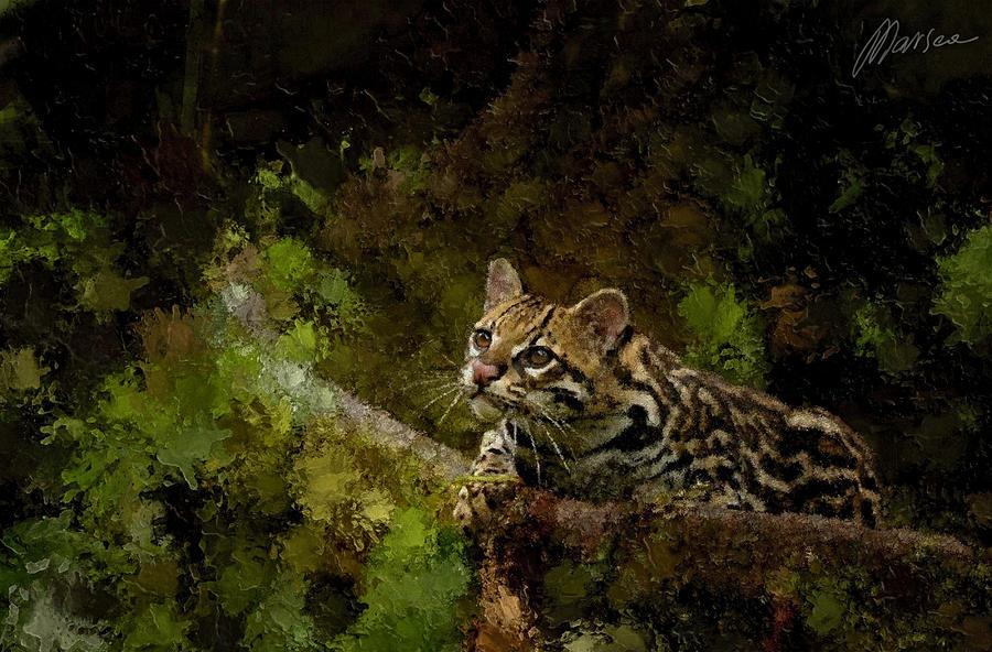 Ocelot Painting - Hunter by Marina Likholat