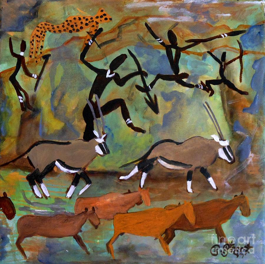 Rock Art Painting - Hunters And Gemsbok Rock Art by Caroline Street