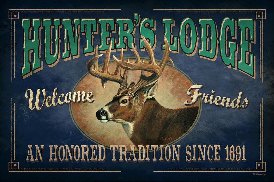 Deer Painting - Hunters Lodge Deer by JQ Licensing