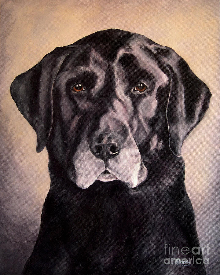 Lab Painting - Hunting Buddy Black Lab by Amy Reges