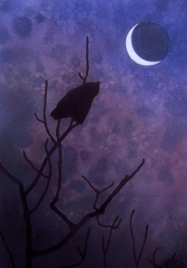 Great Horned Owl Painting - Hunting Moon II or Great Horned Owl by Robin Street-Morris