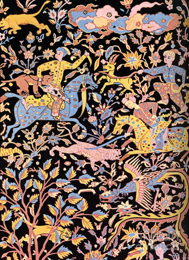 Hunting Persian Men On Horse Persian Art Persian Motifs For Carpet