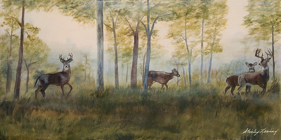 Deer Painting - Hunting Season by Shirley Lawing