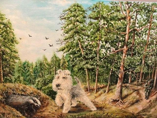 Wood Painting - Hunting by Sergey Selivanov