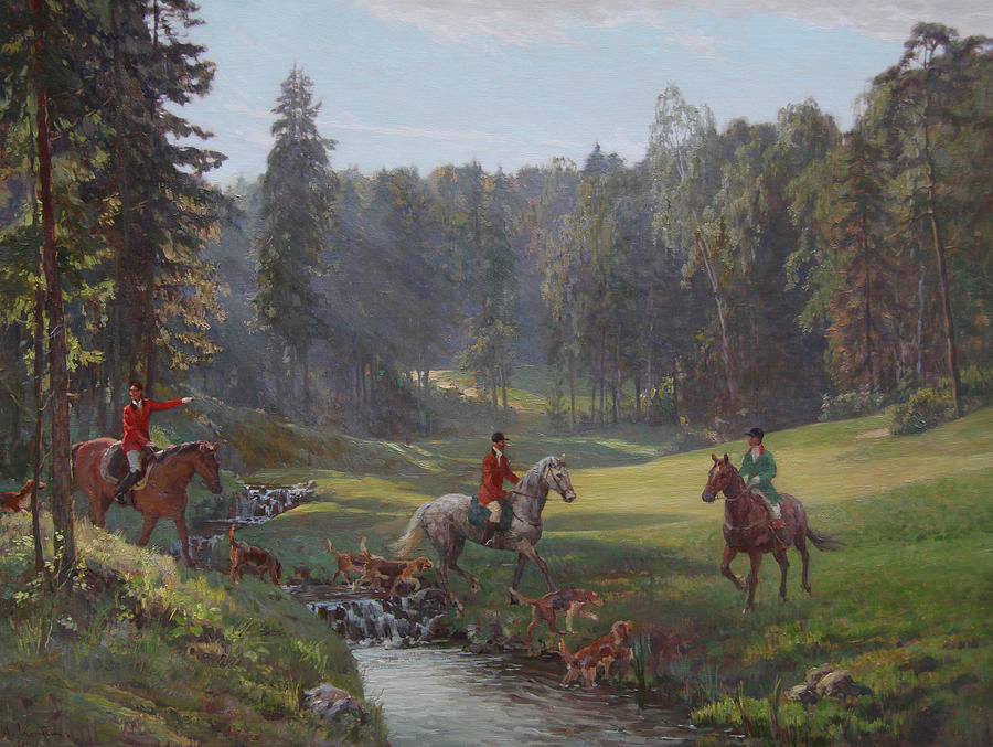Hunting Painting - Hunting With Hounds by Korobkin Anatoly