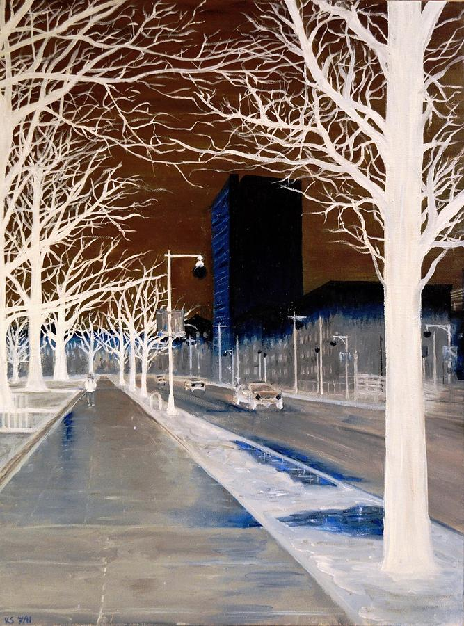 Dark Painting - Huntington Ave Boston by Karen Strangfeld