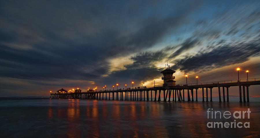 Beach Photograph - Huntington Beach At Night by Peter Dang