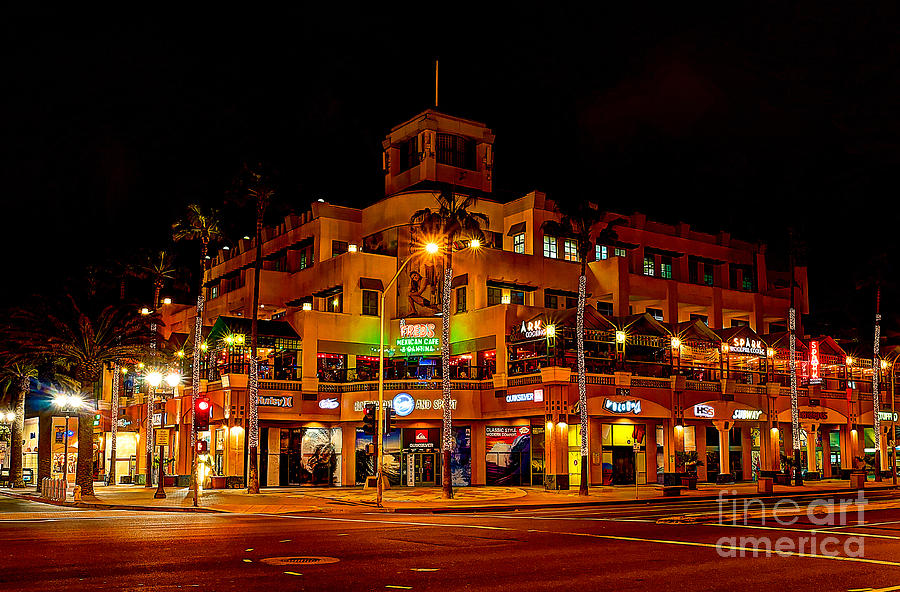 Huntington Beach Photograph - Huntington Beach Downtown Nightside 1 by Jim Carrell