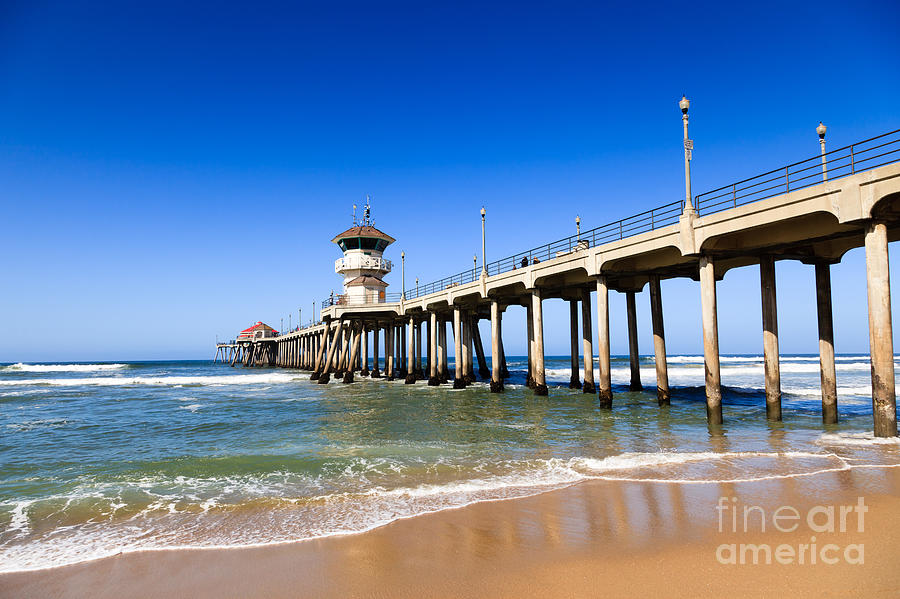America Photograph - Huntington Beach Pier In Southern California by Paul Velgos