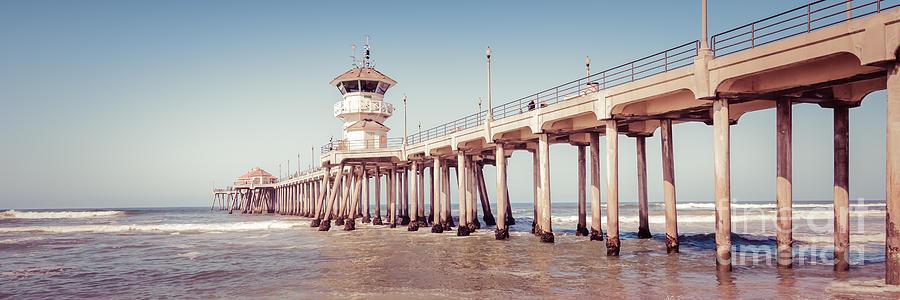 Huntington Beach Pier Retro Panorama Picture by Paul Velgos