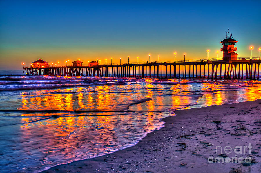 Huntington Beach Pier Sundown Photograph By Jim Carrell