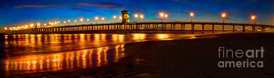 Huntington Beach Photograph - Huntington Beach Pier Twilight Panoramic by Jim Carrell