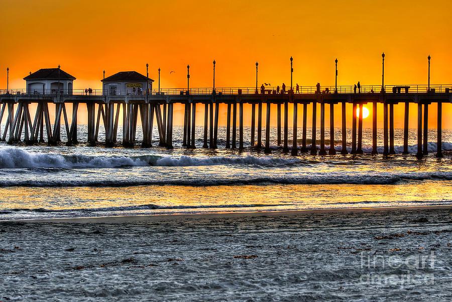 Sun Photograph - Huntington Beach Sunset by Jim Carrell
