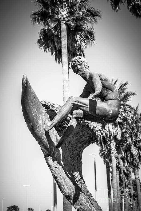 America Photograph - Huntington Beach Surfer Statue Black And White Picture by Paul Velgos