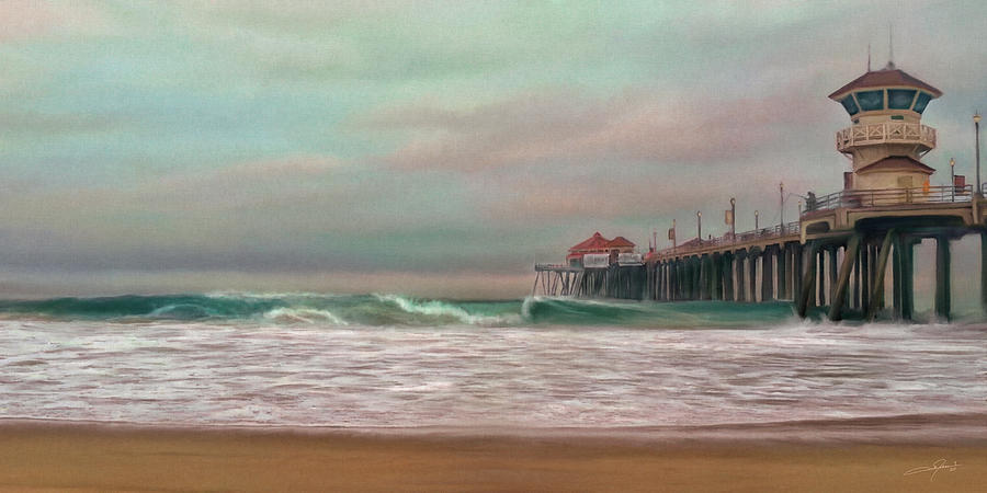 Huntington Beach Pier Digital Art - Huntington Beach Morning by Dale Jackson