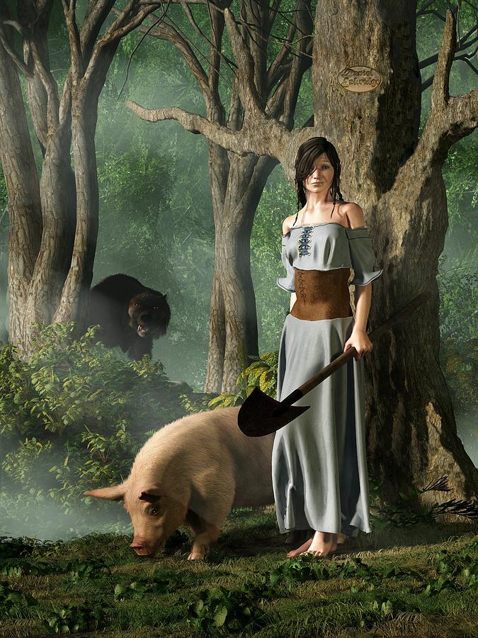 Truffle Digital Art - Huon The Truffle Hog by Daniel Eskridge