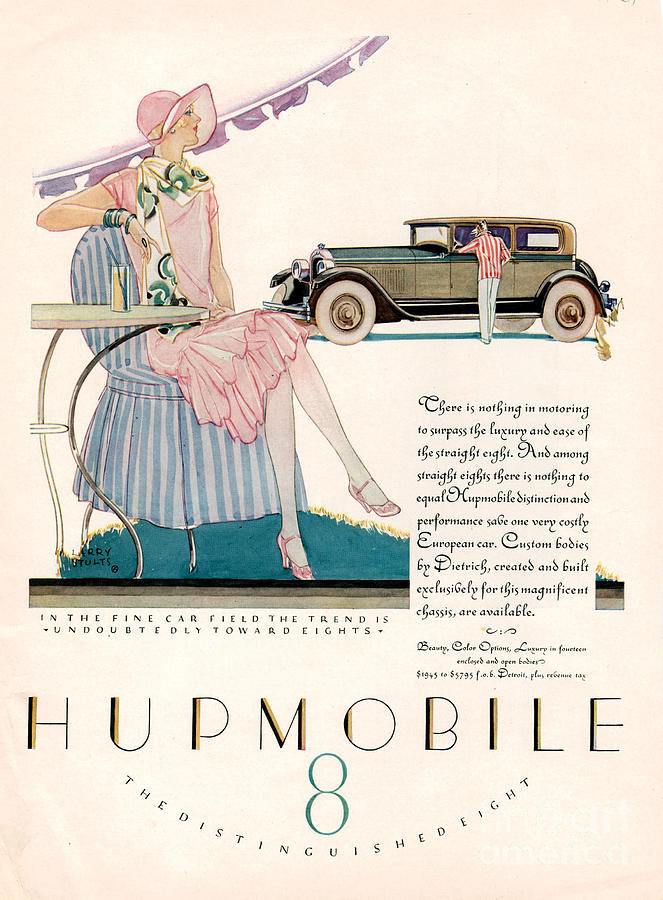 Adverts Drawing - Hupmobile 1927 1920s Usa Cc Cars by The Advertising Archives