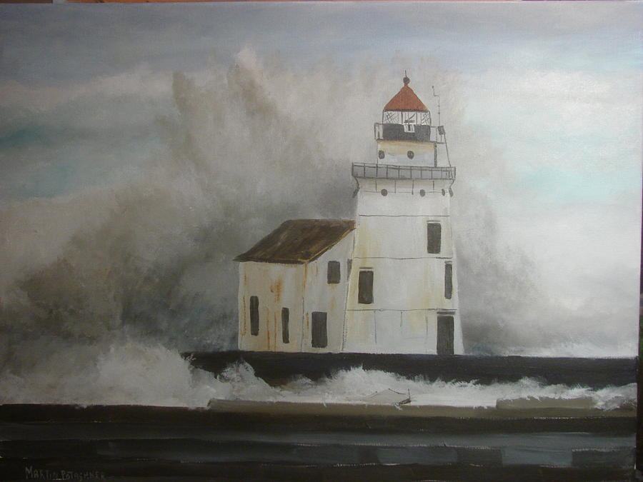 Landscape Painting - Hurricane Sandy At Lake Erie by Martin Potashner