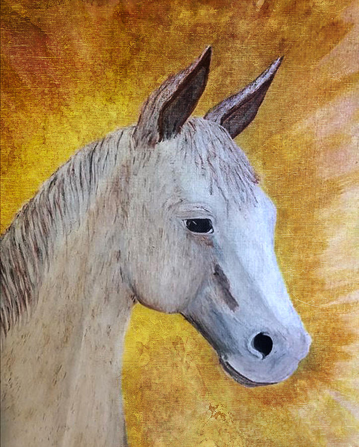 Horse Painting - Hux Little Squeak by Judy Hall-Folde