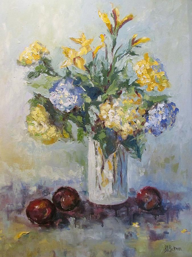 Flower Painting - Hydrangeas And Plums by Brandi  Hickman