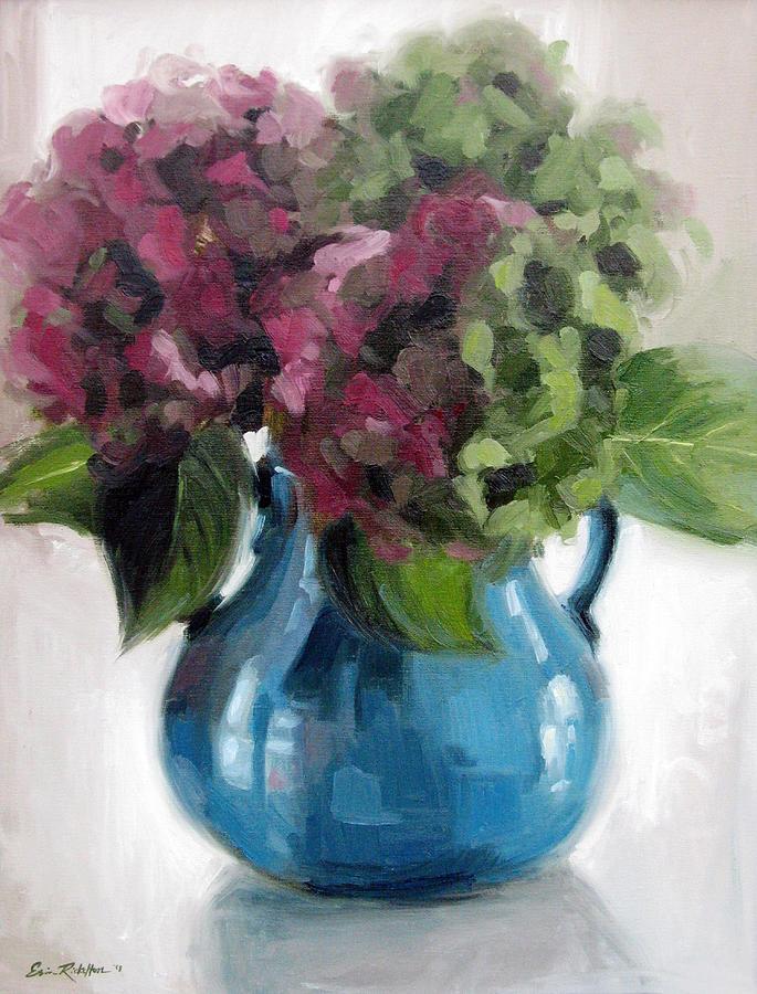 Hydrangeas In Blue Vase Painting By Erin Rickelton