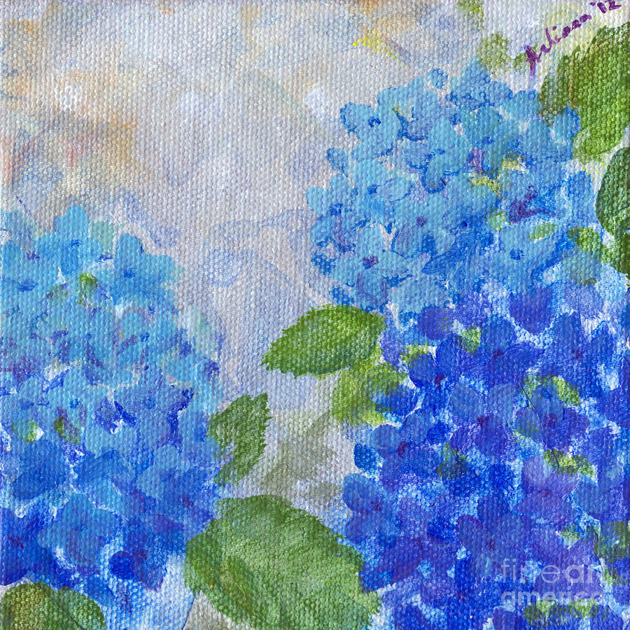 Hydrangeas Painting - Hydrangeas On A Cloudy Day by Arlissa Vaughn
