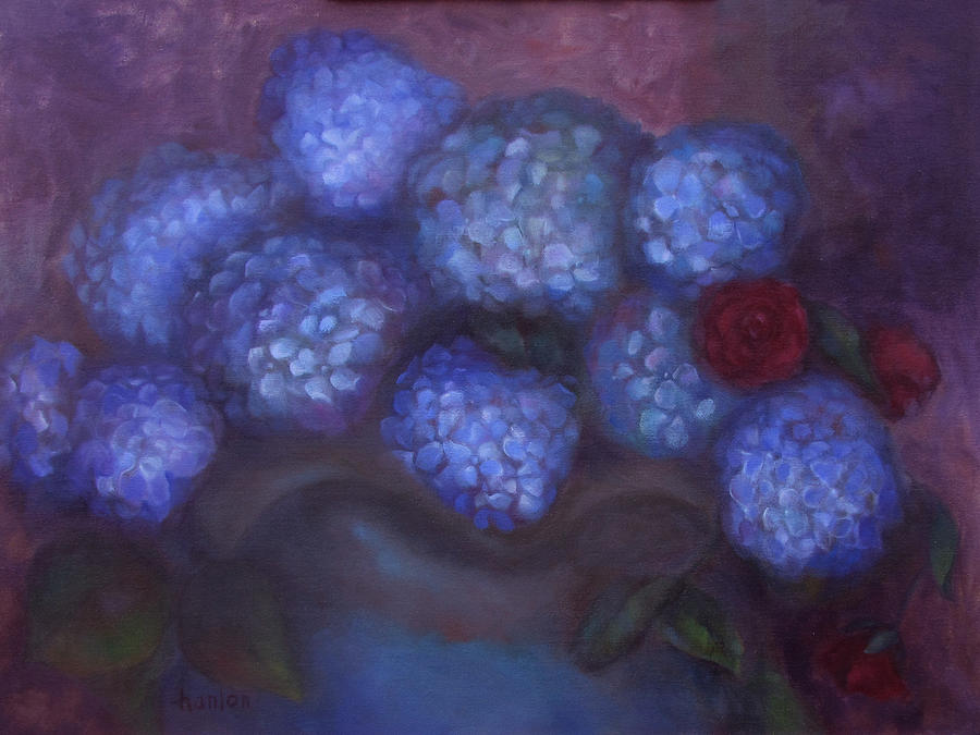 Still Life Paintings Painting - Hydrangeas by Susan Hanlon