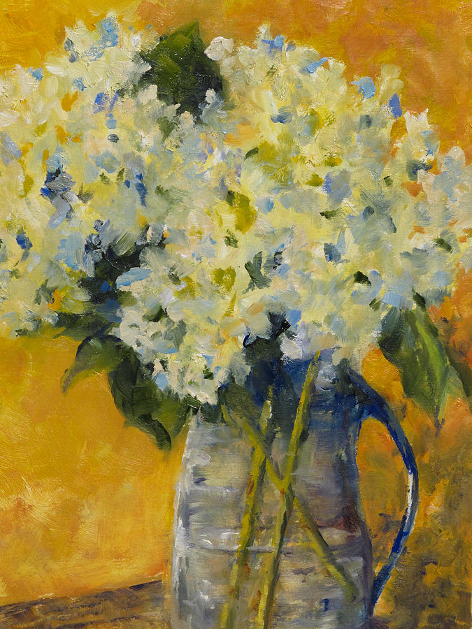 Hydrangeas Painting - Hydrangeas Yellow by Peggy Ellis