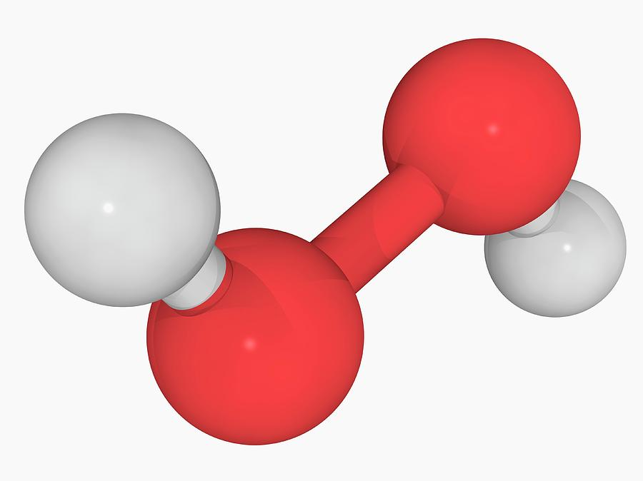 Artwork Photograph - Hydrogen Peroxide Molecule by Laguna Design/science Photo Library