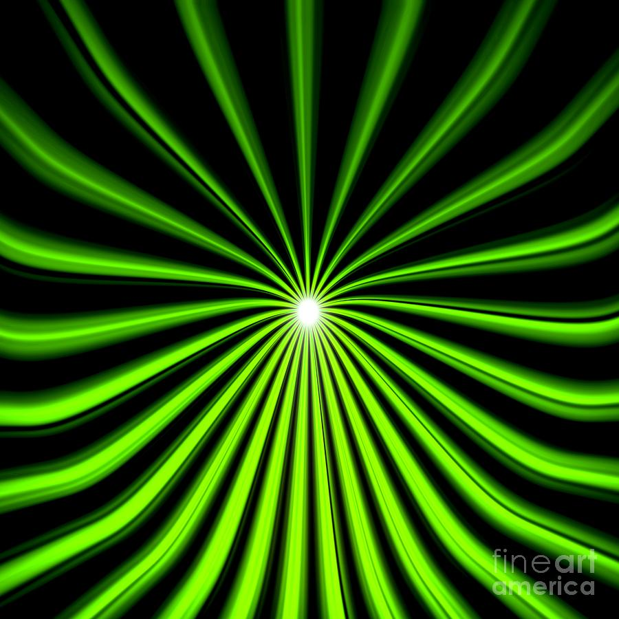 Hyperspace Electric Green Square Painting