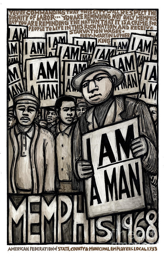 Civil Rights Painting - I am a man by Ricardo Levins Morales