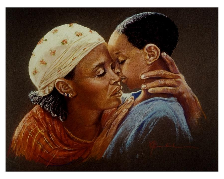 A Mother Comforts Her Child Pastel Painting  On Paper Painting - I Am Here by Pamela Mccabe
