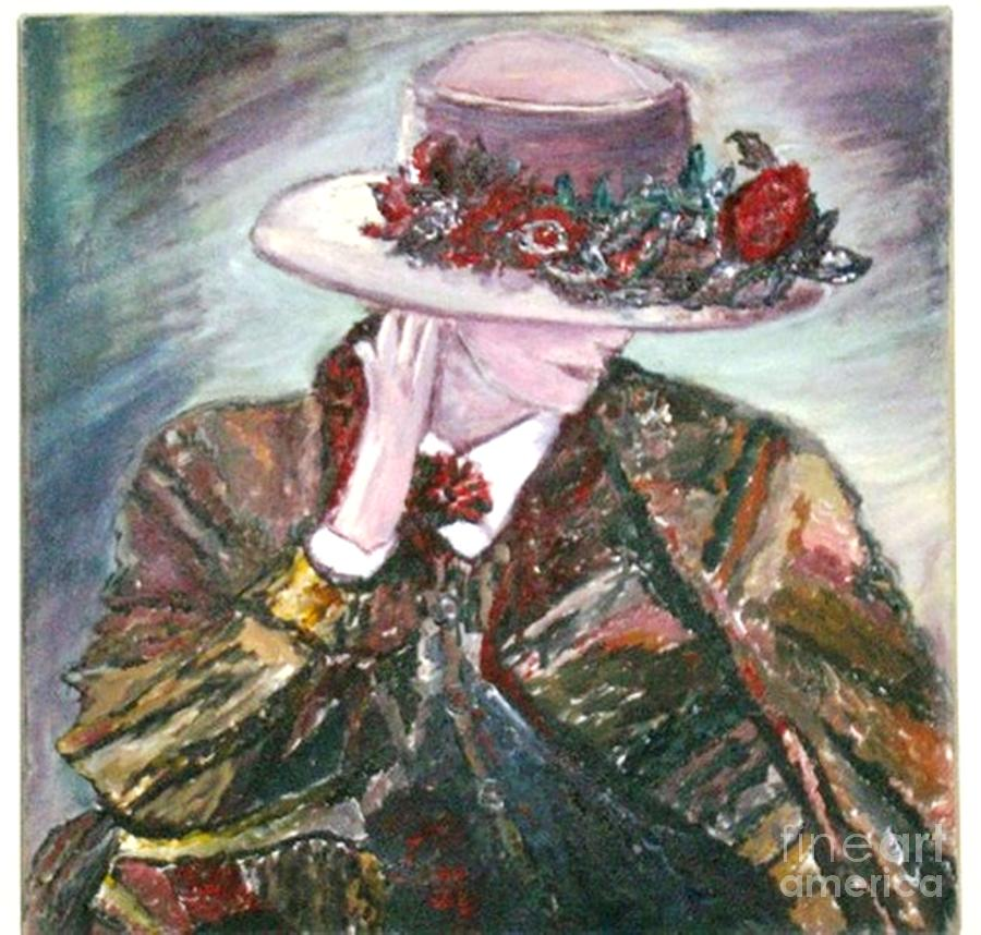 Figurative Painting - I Borrowed My Mothers Hat by Helena Bebirian