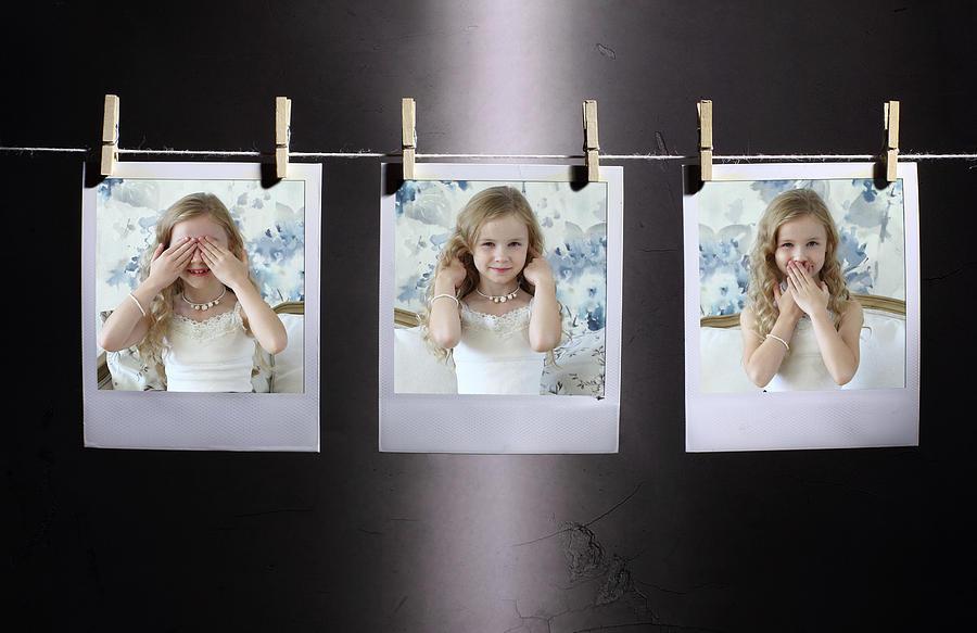 Creative Edit Photograph - I Do Not See, I Do Not Hear, I Wont Tell :-) by Victoria Ivanova