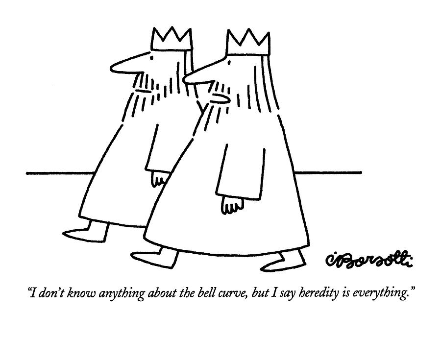 I Dont Know Anything About The Bell Curve Drawing by Charles Barsotti