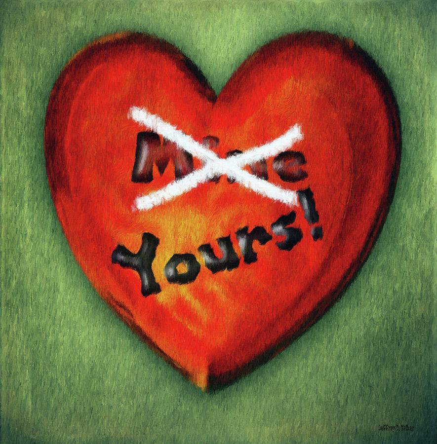 Green Painting - I Gave You My Heart by Jeffrey Kolker