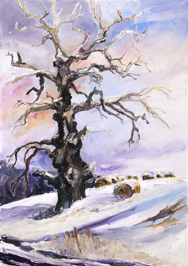 Landscape Painting - I Have Got Stories To Tell Old Oak Tree In Mecklenburg Germany by Barbara Pommerenke
