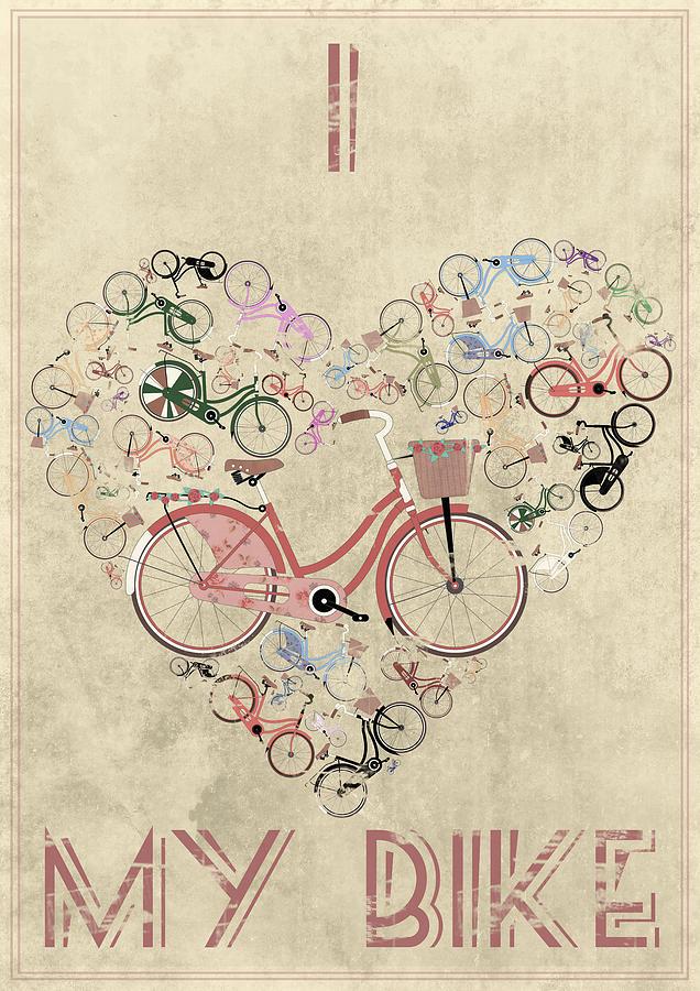 Mixed Media - I Heart My Bike by Andy Scullion