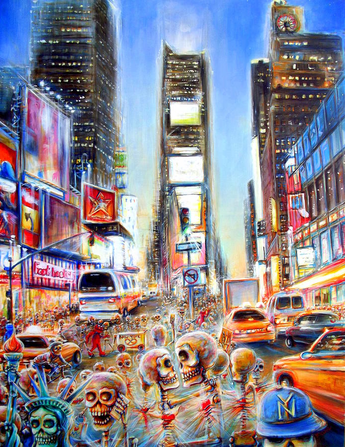 Dia De Los Muertos Painting - I Heart NY by Heather Calderon