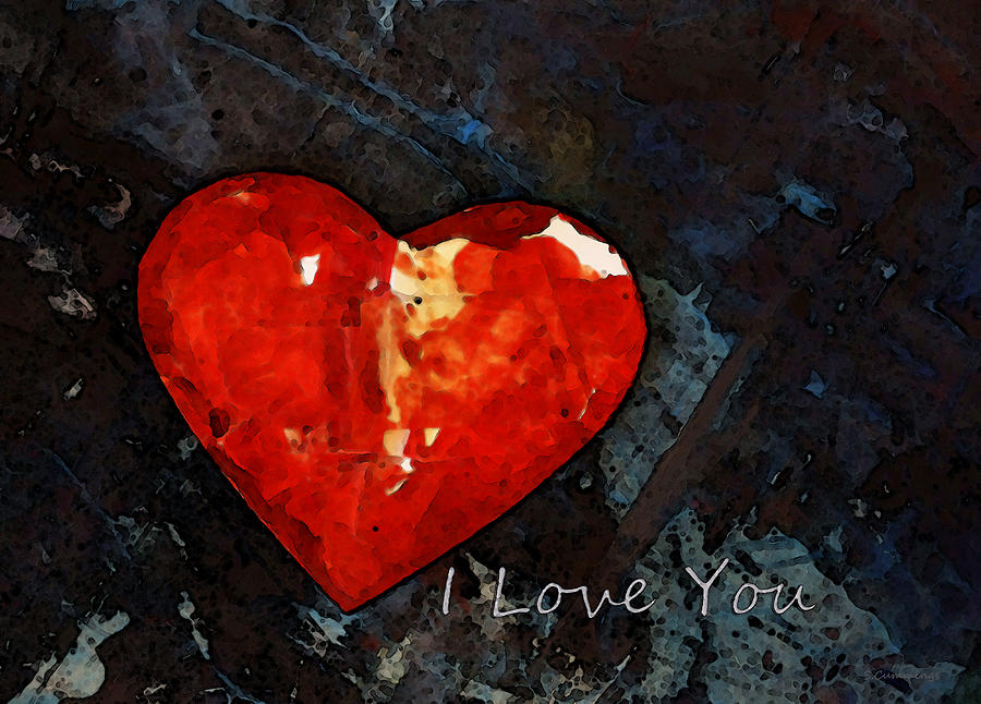 Sharon Cummings Painting - I Just Love You - Red Heart Romantic Art by Sharon Cummings