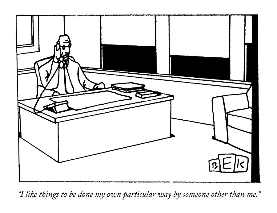 I Like Things To Be Done My Own Particular Way Drawing by Bruce Eric Kaplan