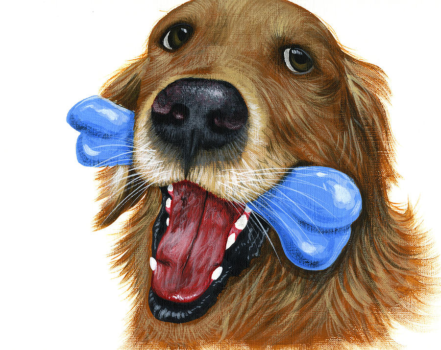 Dog Painting - I Live to Fetch...Golden Retriver Art Painting by Amy Giacomelli
