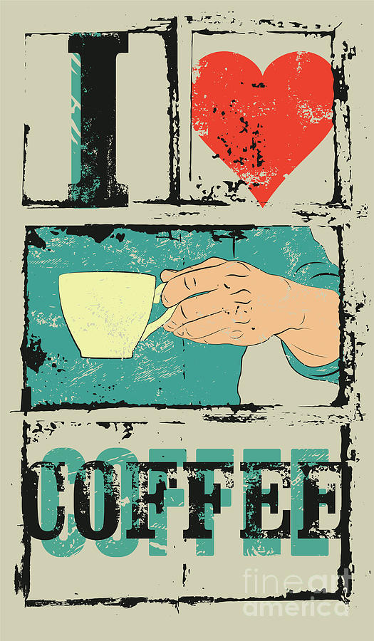 Symbol Digital Art - I Love Coffee. Coffee Typographical by Zoo.by