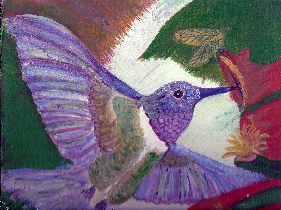 Hummingbird Painting - I Love Hummingbirds  by Anne-Elizabeth Whiteway