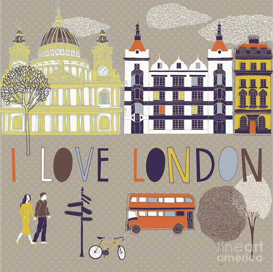 Love Digital Art - I Love London Print Design by Lavandaart