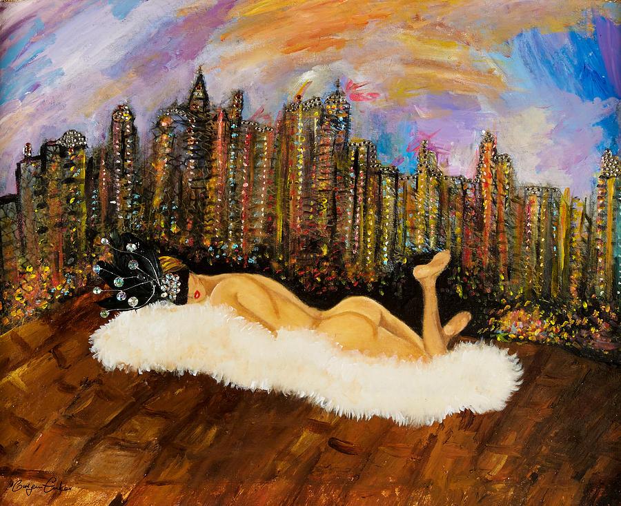 City Painting - I Love Nyc by Gulgun Turker Fingerhut