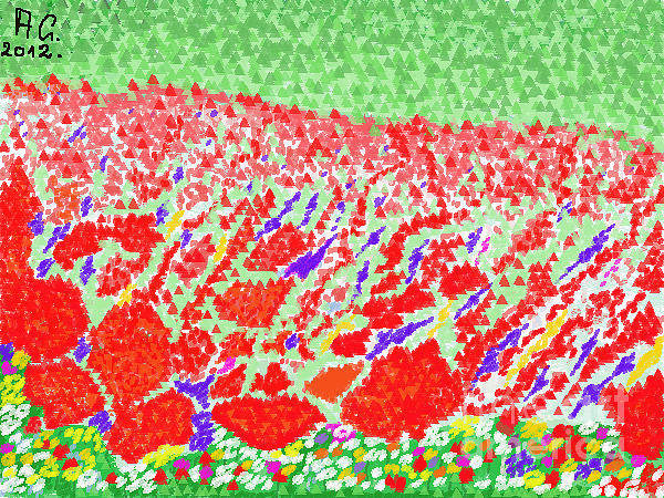 Streched Canvases Photographs Drawing - I Love Poppy Fields In Galicia . by  Andrzej Goszcz